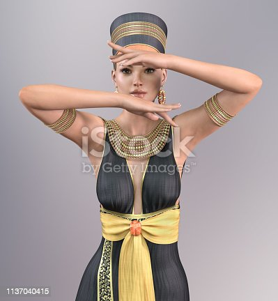 istock 3D woman in Cleopatra costume 1137040415