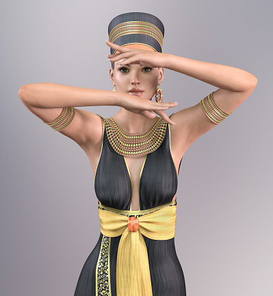 1137329370 istock photo 3D woman in Cleopatra costume 1137040415