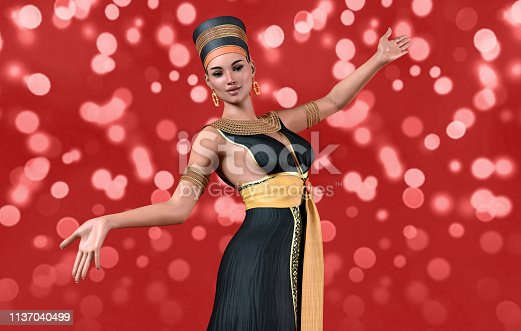 istock 3D woman in Cleopatra costume 1137040499
