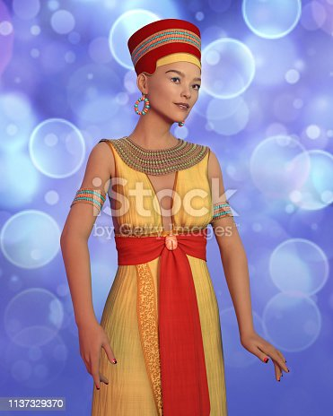 istock 3D woman in Cleopatra costume 1137329370