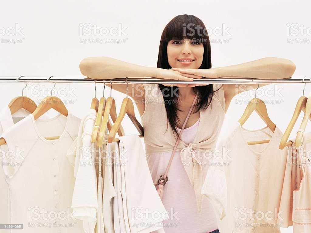 Woman in clothes shop royalty-free stock photo