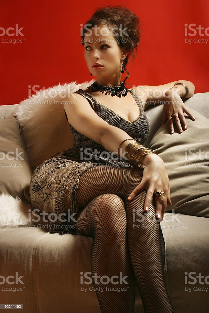 Woman in cocktail dress royalty-free stock photo