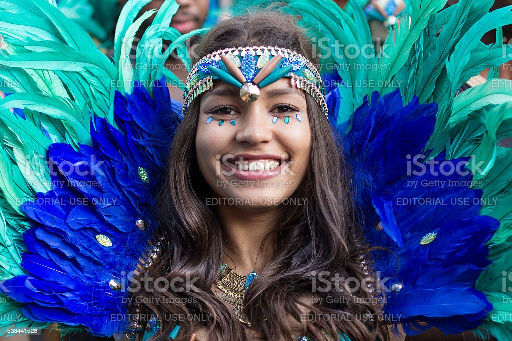 woman in costume on Carnival of Cultures in Berlin stock photo