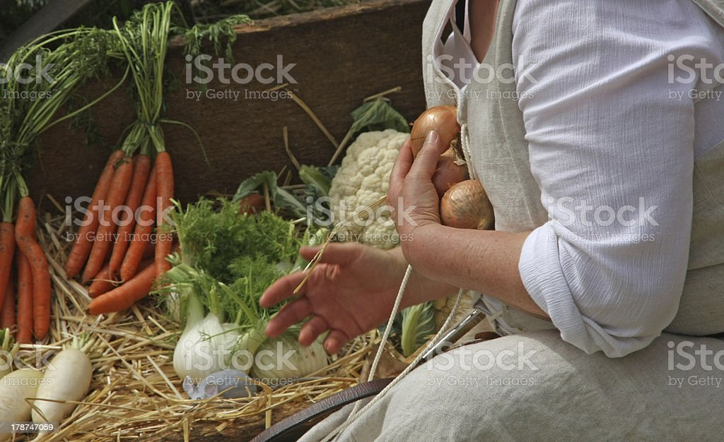 woman in costume while collecting onions stock photo
