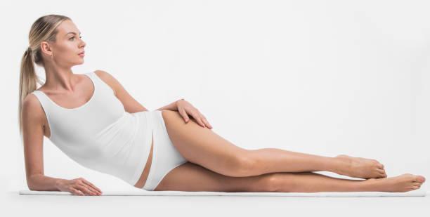 Woman in cotton underwear stock photo