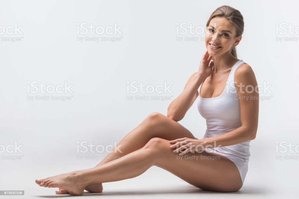 Woman in cotton underwear stock photo