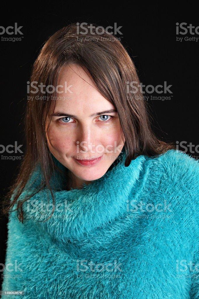 Woman in cyan dress stock photo