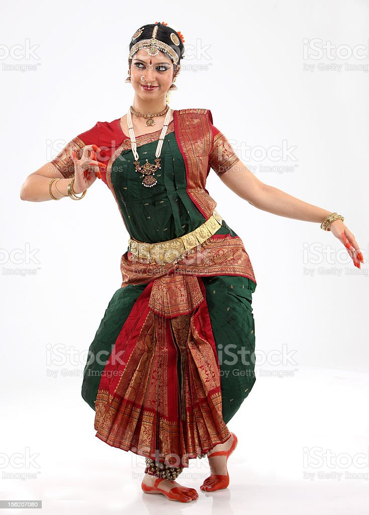 Woman in dancing pose stock photo
