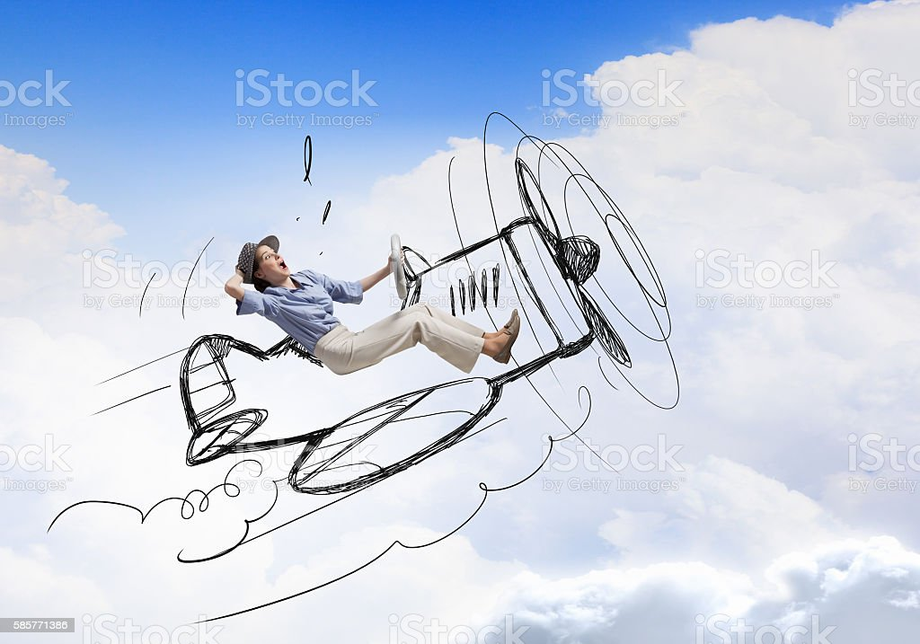 Woman in drawn airplane . Mixed media - Photo