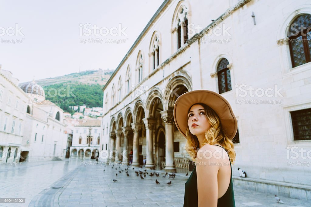 Woman in Dubrovnik od town stock photo