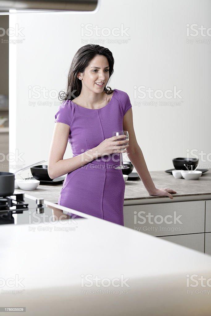 Woman in elegant kitchen royalty-free stock photo
