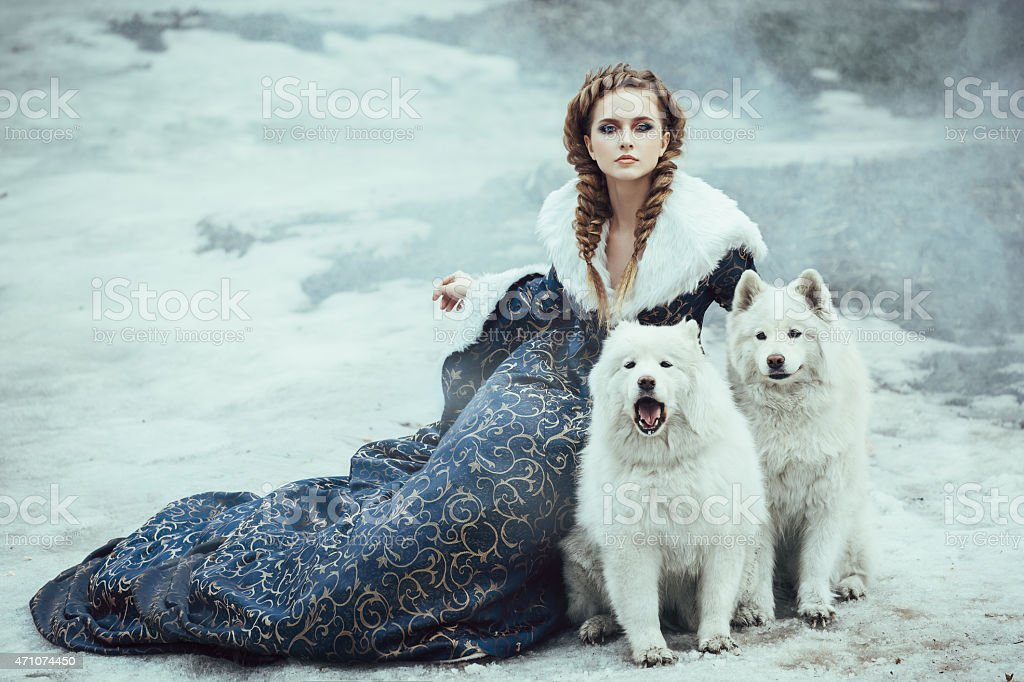 Woman in elegant winter coat next to two white huskies stock photo