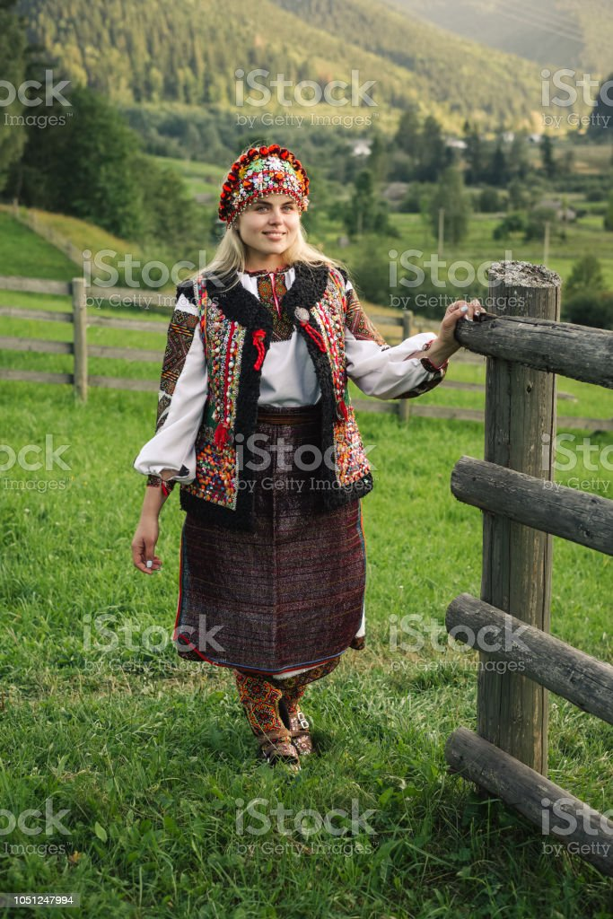 Woman in ethnic and traditional Ukrainian clothes stock photo
