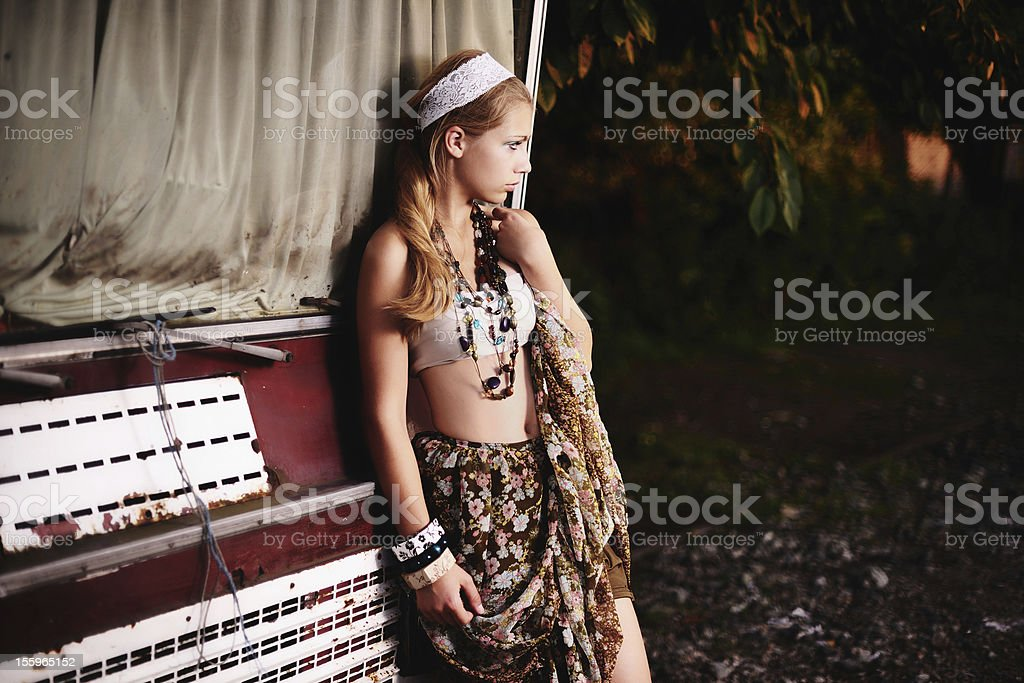 Woman in ethnic suit stock photo