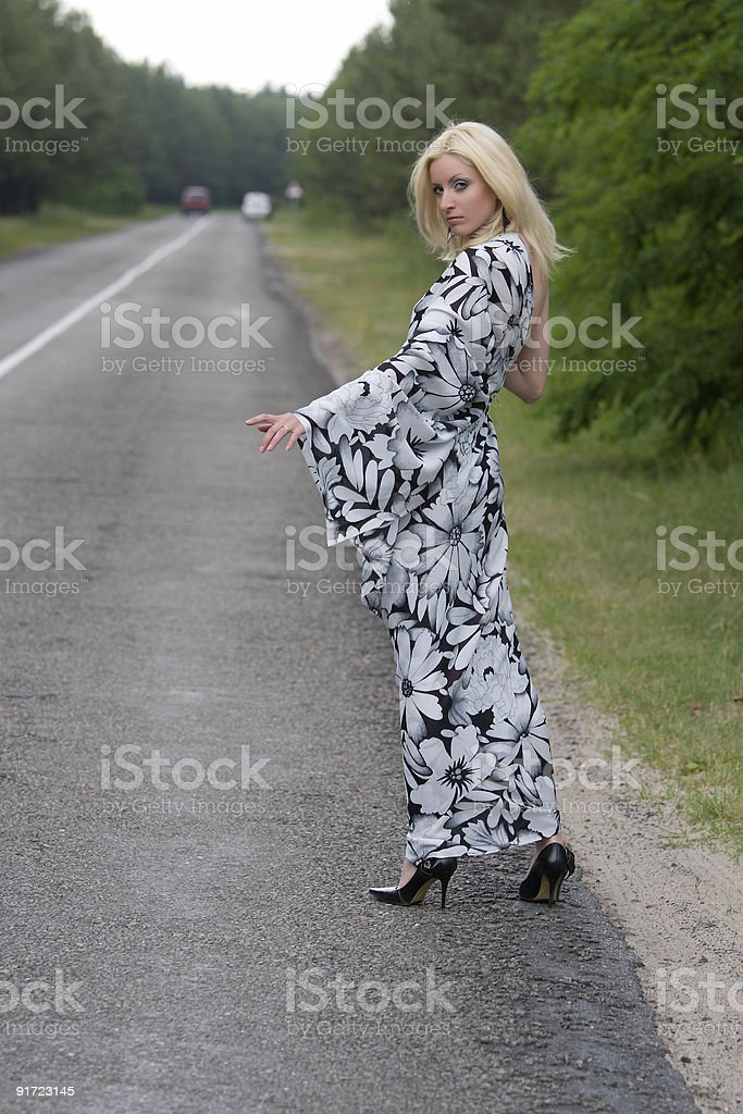 Woman in evening dress thumb royalty-free stock photo