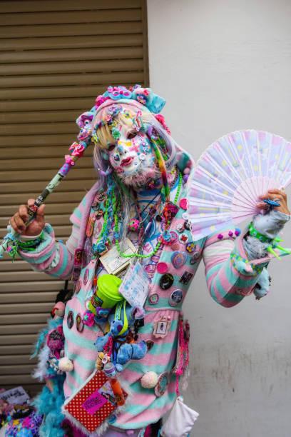 frau in fancy cosplay in harajuku - tokyo cosplay stock-fotos und bilder