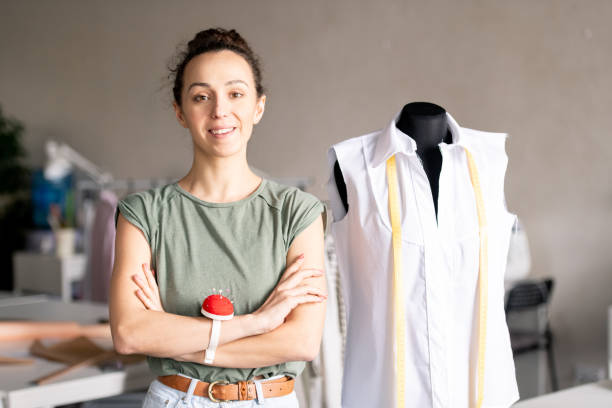 Woman in fashion studio stock photo