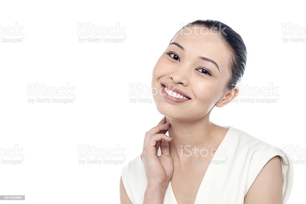 Woman in fresh look with glowing skin stock photo