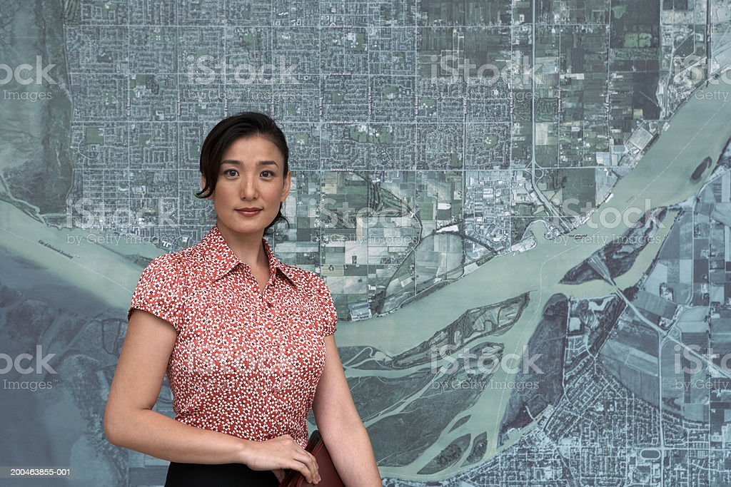 Woman in front of artwork, portrait royalty-free stock photo