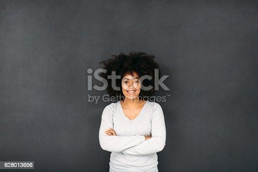 635680384 istock photo Woman In Front of Blackboard 628013656