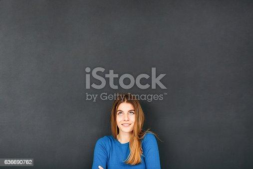 istock Woman In Front of Blackboard 636690762