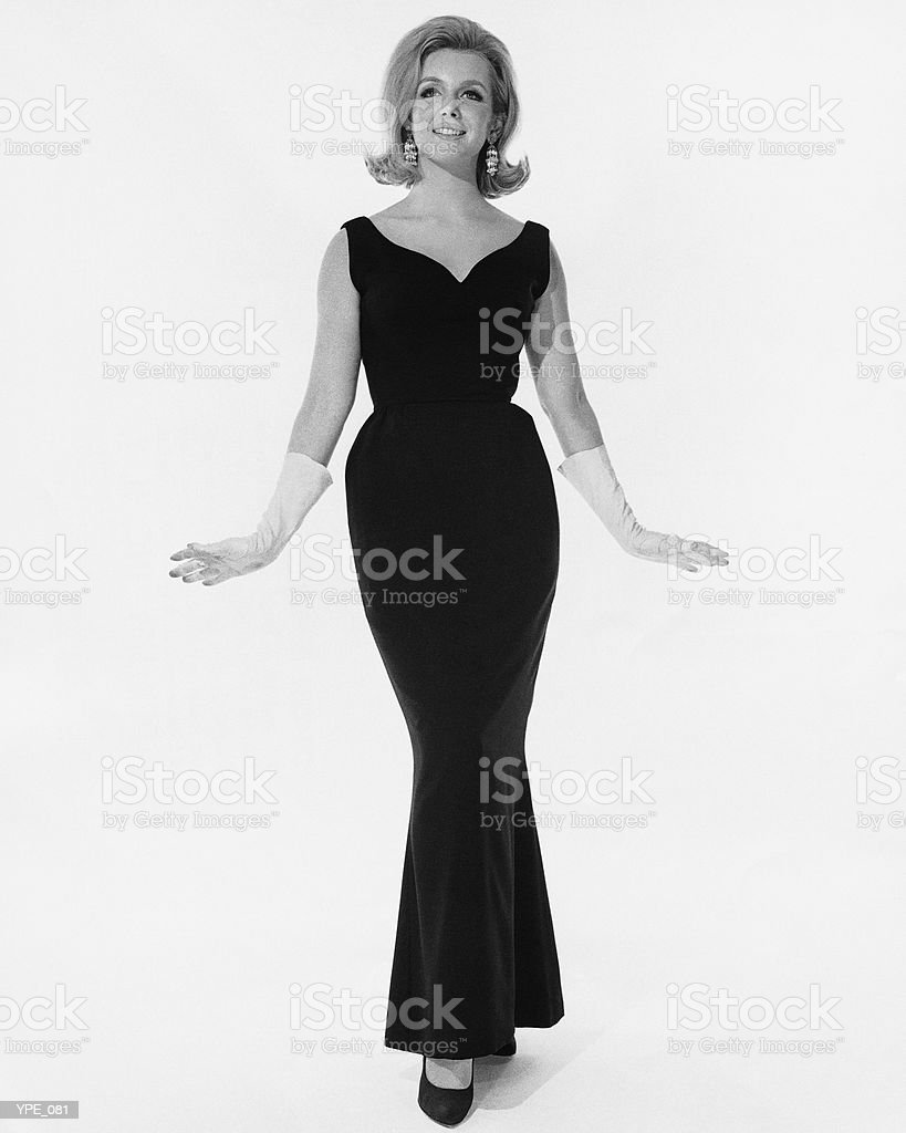 Woman in full-length evening dress royalty-free stock photo