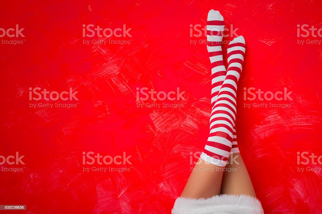Femme sur drôle chaussettes - Photo
