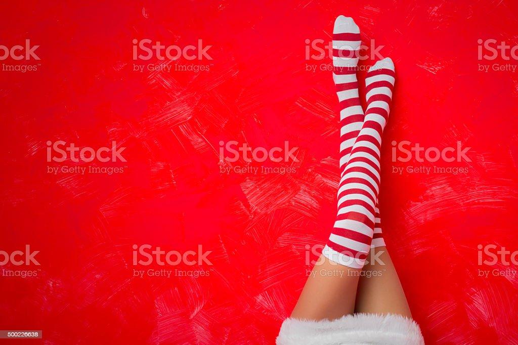 Woman in funny socks stock photo