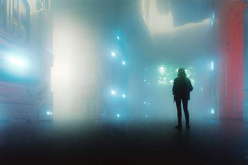 Woman in futuristic city. This is entirely 3D generated image.