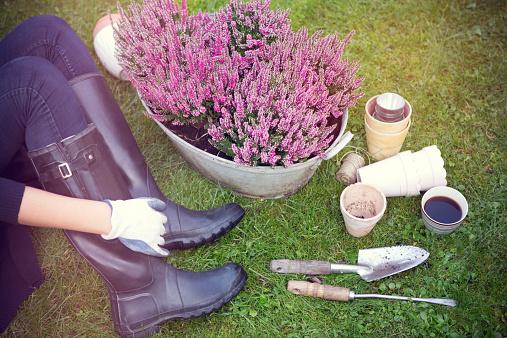 Woman in garden.