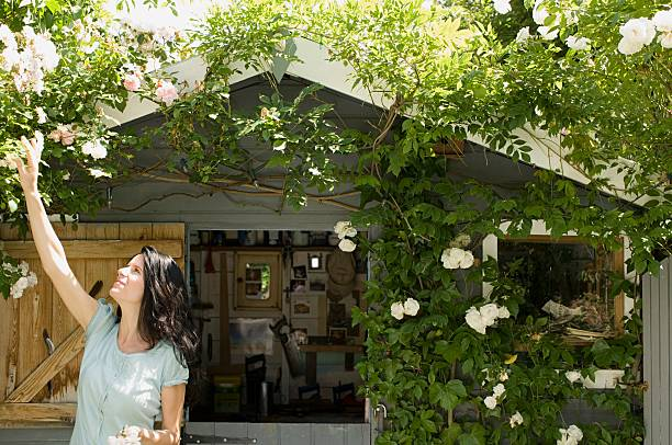 Woman in garden  shed stock pictures, royalty-free photos & images