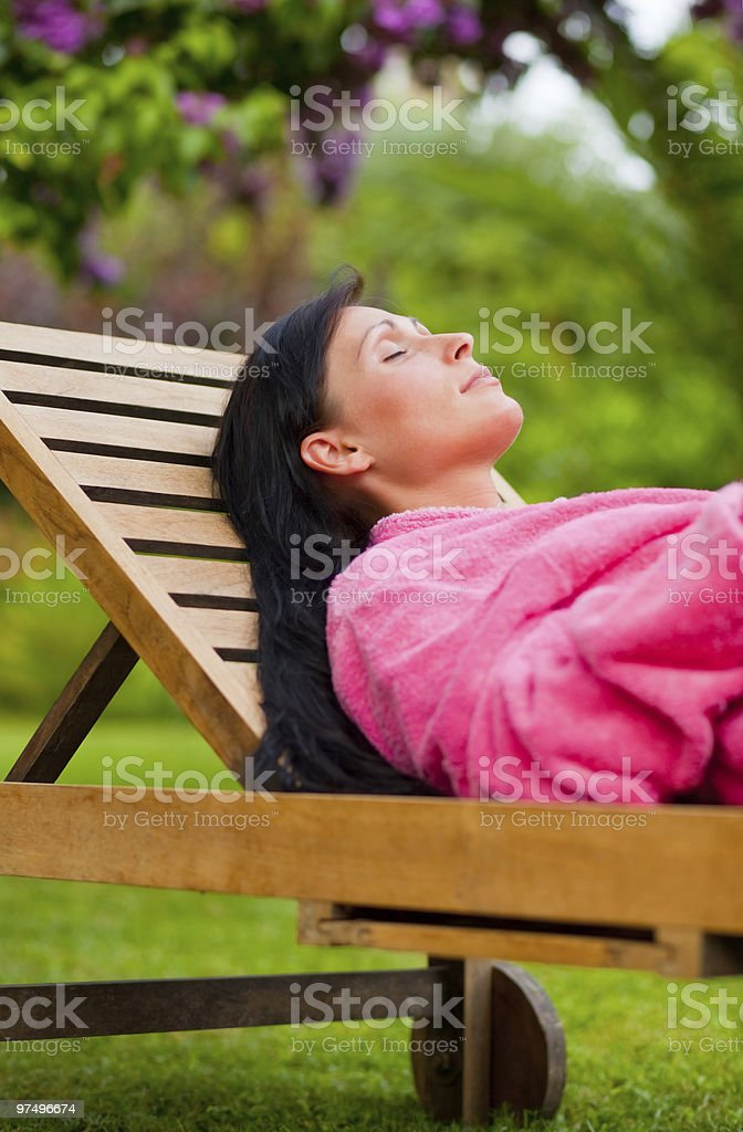 woman in garden royalty-free stock photo