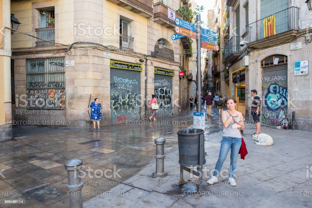 Woman in George Orwell Plaza in Barcelona stock photo