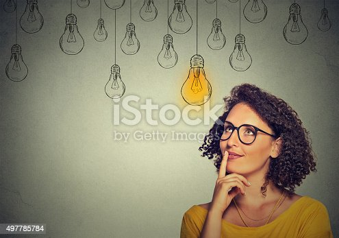 istock woman in glasses looking up with light idea bulb 497785784