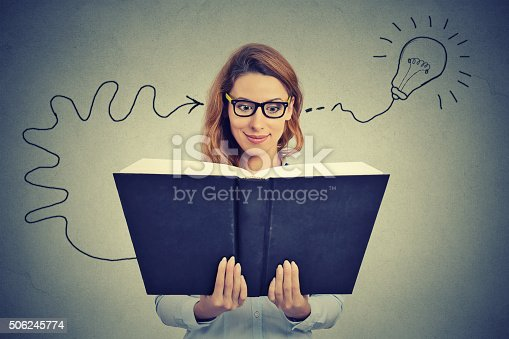 istock Woman in glasses reading book comes up with idea 506245774