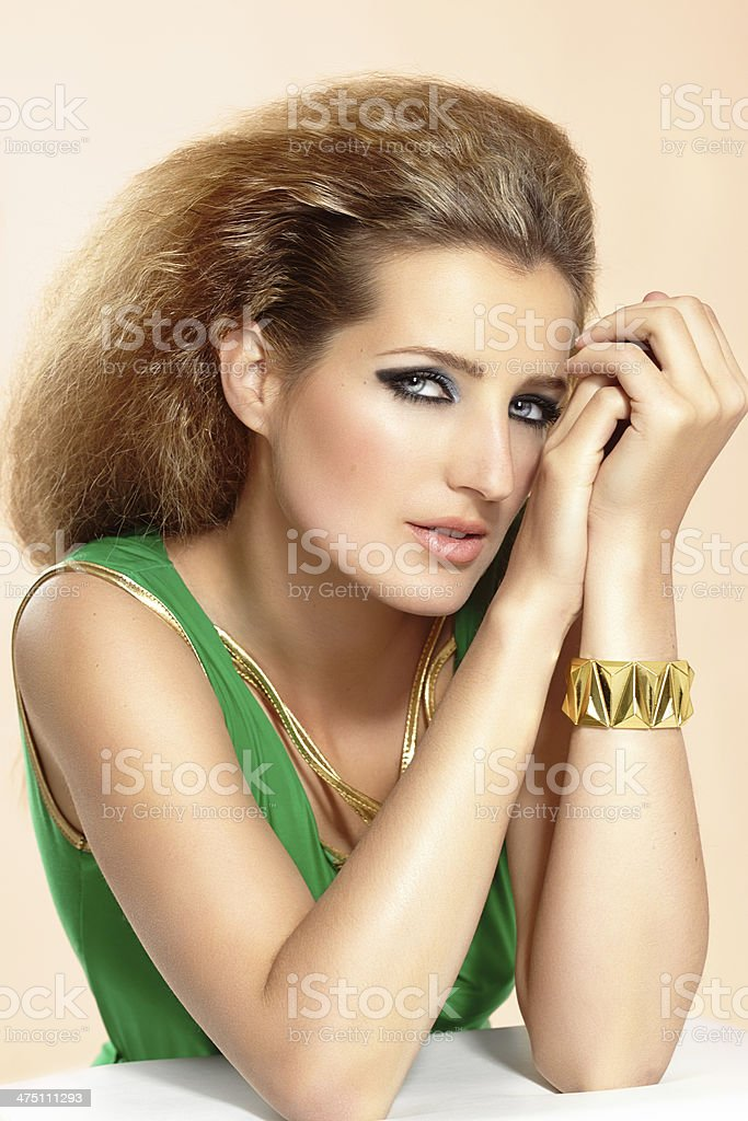 Woman In Green Dress royalty-free stock photo