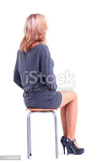 istock woman in grey dress. 113593060