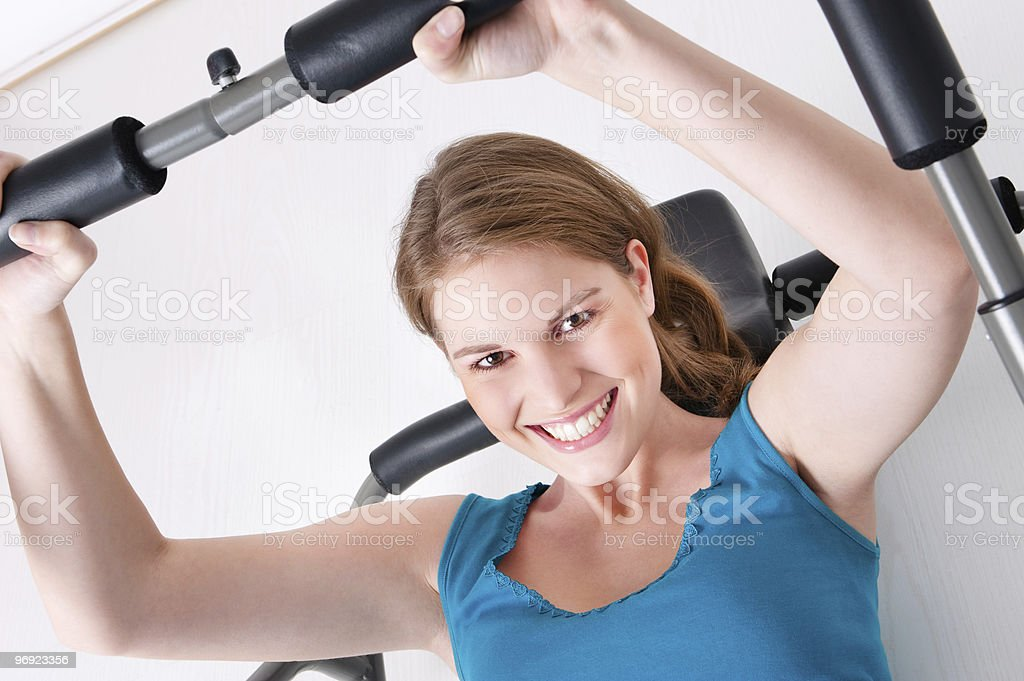 Woman in gym royalty-free stock photo