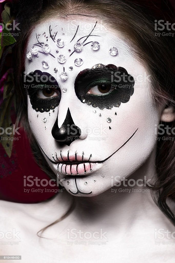 woman in halloween makeup mexican santa muerte mask royalty free stock photo