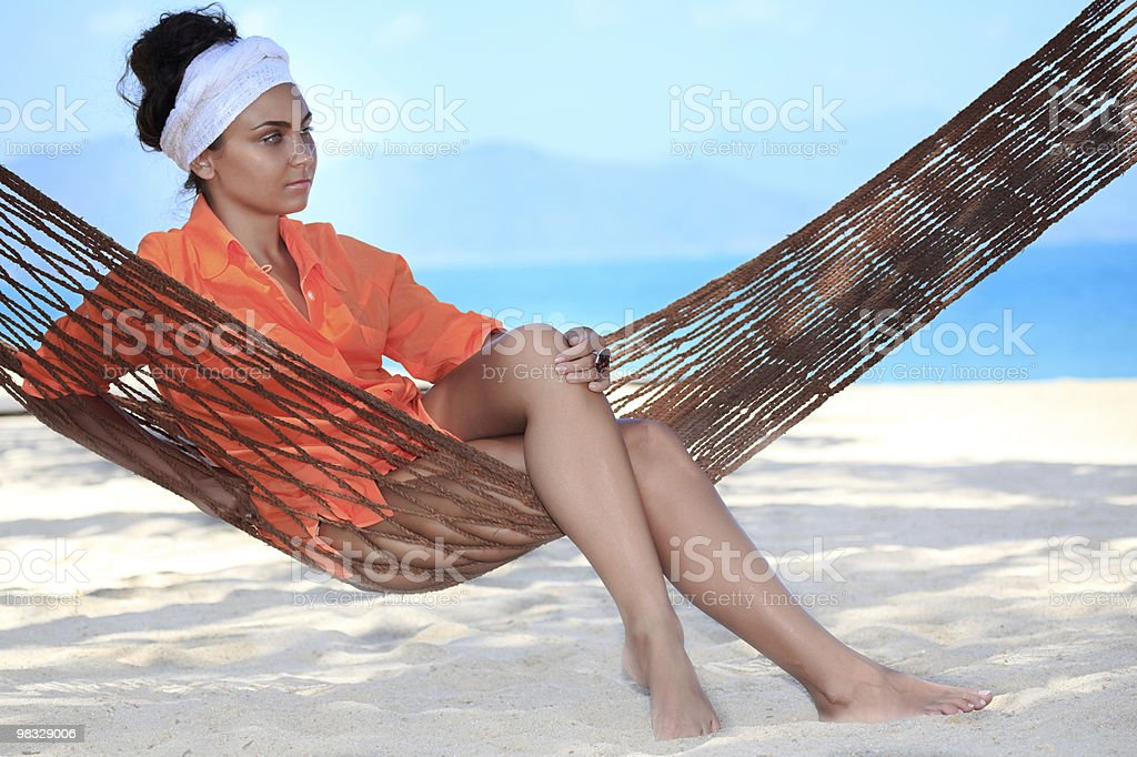 Woman in hammock royalty-free stock photo