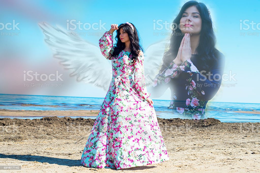 Woman in harmony with nature, communication with spirits stock photo