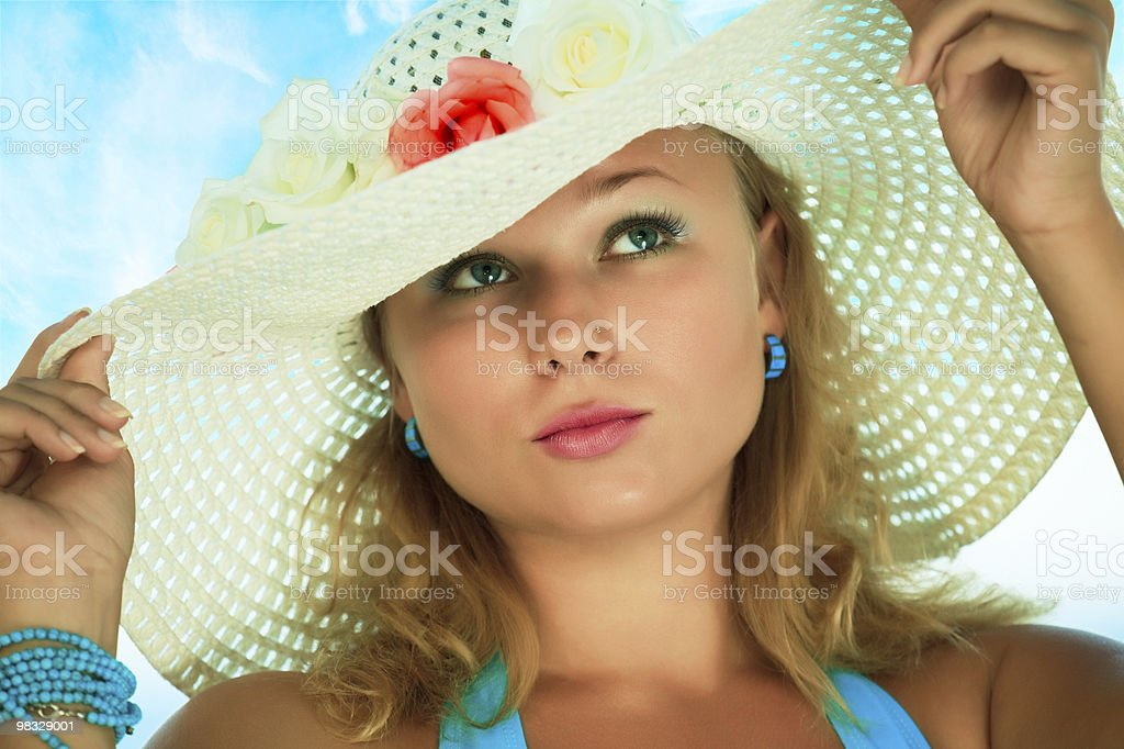 Donna in Cappello foto stock royalty-free