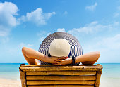 Woman in hat relaxing on beach, looking at sea. Copy space.