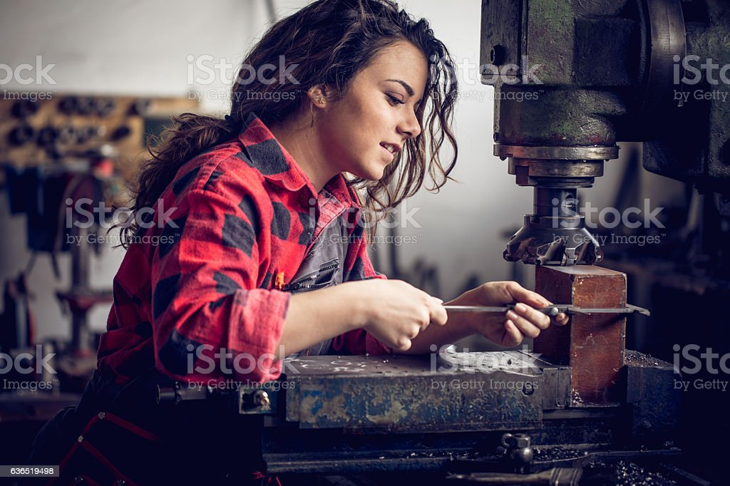 Woman in her workshop stock photo