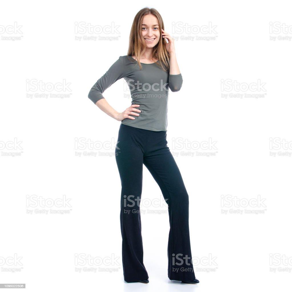Tacones Pantalón Y Negro Stock Sonrisa De Mujer Va Foto Zapatos 0nvNwOm8