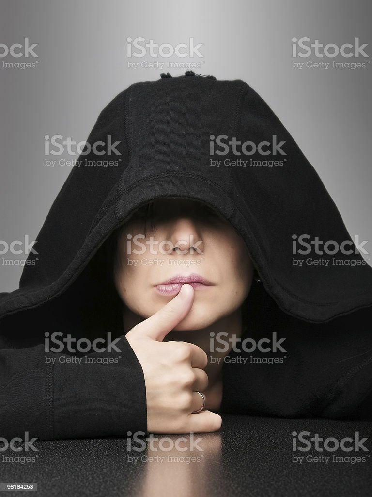 Woman in hood royalty-free stock photo