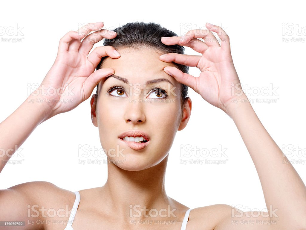 Woman in horror beacause of crease stock photo
