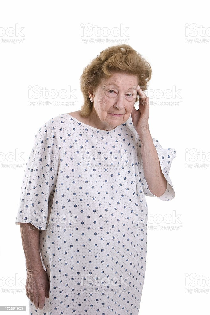 Woman in hospital gown royalty-free stock photo