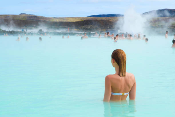 Woman in hot spring stock photo