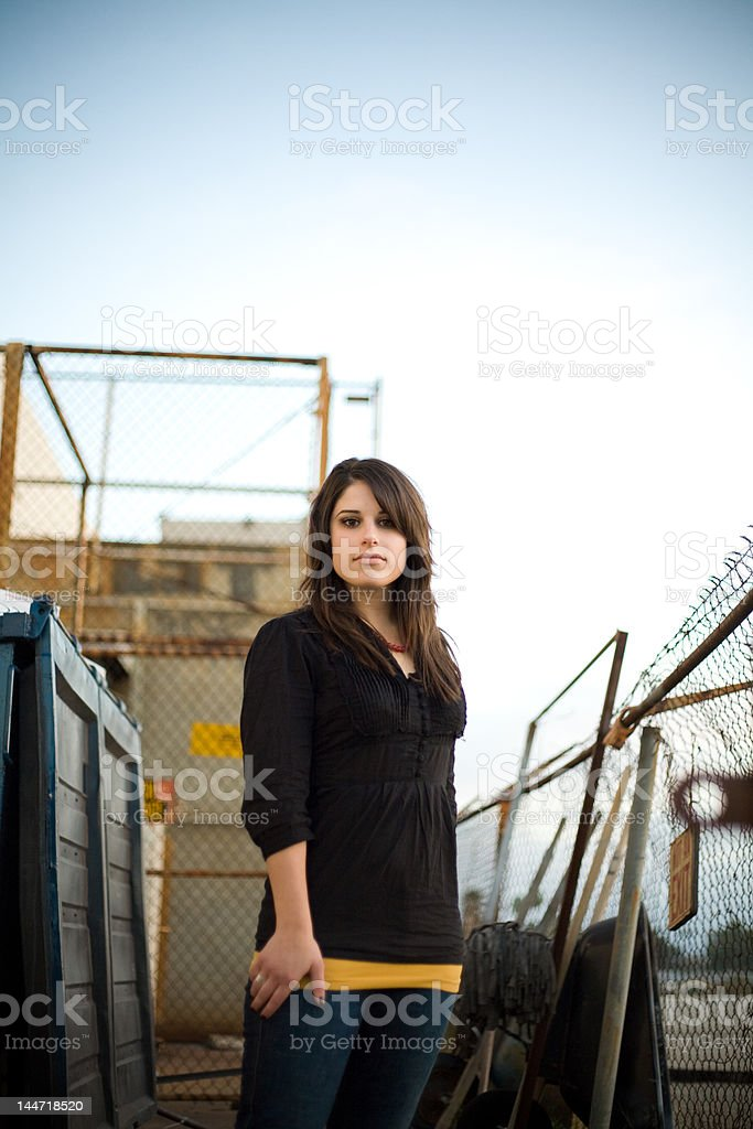 woman in industrial royalty-free stock photo